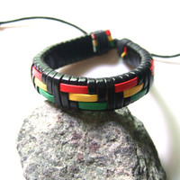 1 Piece Rasta PU Leather Braided Surfer Wrap Bracelet Bangle Wristband For Men Women