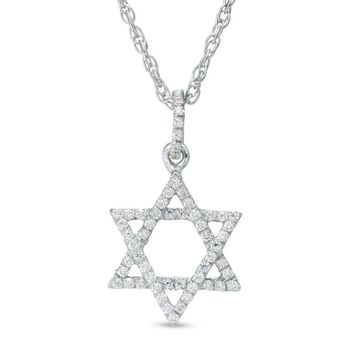 1/6 CT. T.W. Diamond Star of David Pendant in Sterling Silver|Zales