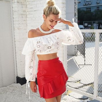 Off shoulder hollow out long sleeve lace blouse crop top