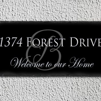 Handmade and Customizable Slate Home Address Sign - Welcome To Our Home
