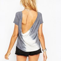 ASOS T-Shirt With Cowl Back And Tie Dye Placement Print
