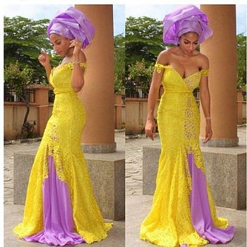 Yellow Lilac Arabic Bridesmaid Dresses lace Sweetheart Sexy Mermaid Maid of Honor Dress for Wedding Muslim Party Dresses