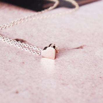 solid heart rose gold titanium necklace