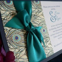 Peacock wedding invitation limited edition by hellodahlia on Etsy