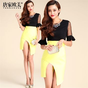 Veegol 2014 Summer New Arrivals Fashion Sexy Grenadine Sleeves Irregular Woman's Dresses - DinoDirect.com