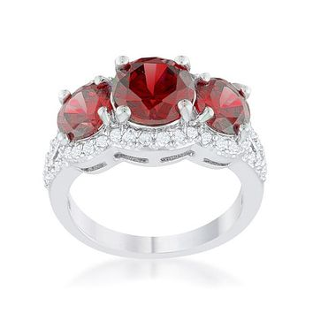 Meirion Garnet Red Round Cut Three Stone Cocktail Ring  | 7ct | Cubic Zirconia | Silver
