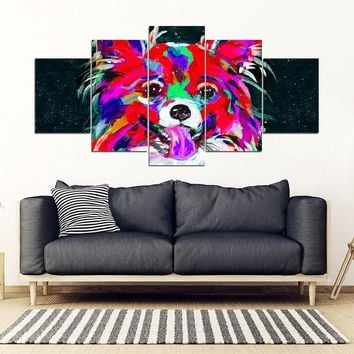 Papillon Dog Art Print 5 Piece Framed Canvas- Free Shipping