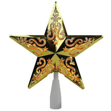 "8.5"" Gold Star Cut-Out Design Christmas Tree Topper Clear Lights"
