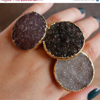 SALE Gold Druzy Ring - Large Round Druzy Statement Ring - Adjustable, Choose Your Stone