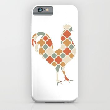 ROOSTER SILHOUETTE WITH PATTERN iPhone & iPod Case by deificus Art