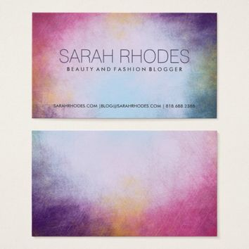 Beauty Fashion Blogger Color Wash Business Cards