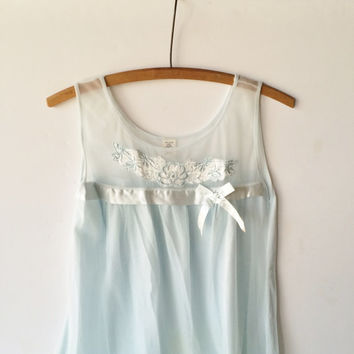 Vintage Nightgown, 1970s Size Small Nightgown, Pale Blue Nightgown, Vintage Lingerie, Pale Blue Nightgown With Chiffon Overlay and Satin