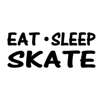 14*5.5CM Eat Sleep Skate Personalized Sports Car Sticker Automobile Styling Decorative Stickers Decals Black/Sliver C4-0025