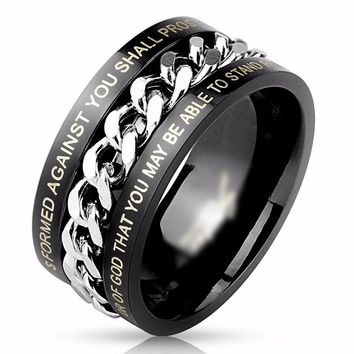 Black Chain Bible Verse Ring