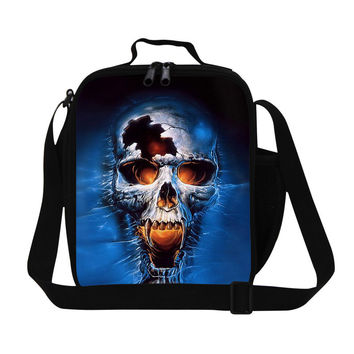 new arrival skull printing polyester lunch bag for men,fashion insulated lunch box,women thermal bag children outdoor picnic bag