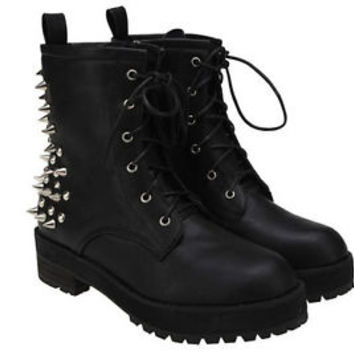 Fashion Womens Spike Studs Punk Gothic Lace Up Engineer Motorcycle Ankle Boot
