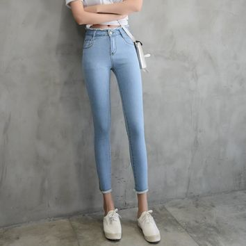 6 EXTRA LARGE Jeans Woman Spring New High Waist Jeans Female Burr Ankle-Length Pants Sexy Foot Pants Female Student Jeans