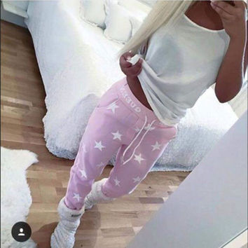 Loose Sport Pants Women Printed Star Casual  Long Trousers High Quality Training Fashion Sweatpants
