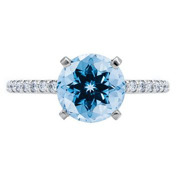 Round Aqua Blue Spinel 4 Prongs Diamond Accent Ice Cathedral Solitaire Ring