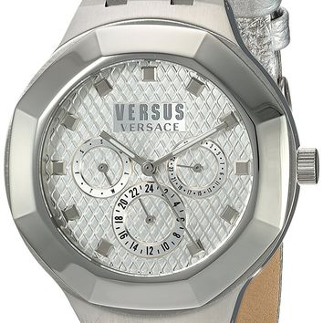 Versus by Versace Women's 'LAGUNA CITY' Quartz Stainless Steel and Leather Casual Watch, Color:Silver-Toned (Model: VSP360117)