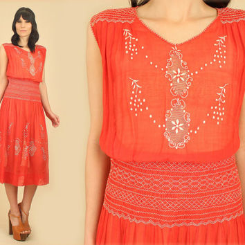 RARE ViNtAgE 20s 30s Hungarian Hand EMBROIDERED Dress // Floral Sheer Smocked Cotton Flapper Drop Waist Penny Lane Hippie BoHo Bohemian S