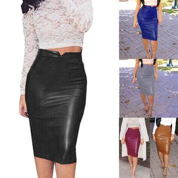Lady Skirt Leather KneeLength Bodycon Skirt HighWaist Slim Party Pencil Skirt