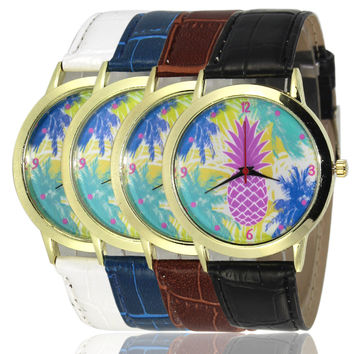 Designer's Great Deal New Pineapple Arrival Stylish Awesome Good Price Trendy Gift Hot Sale PU Leather Watch [6420303236]