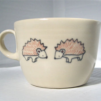 Handmade Ceramic Teacup Hedgehogs Tea Cup Handmade by abbyberkson