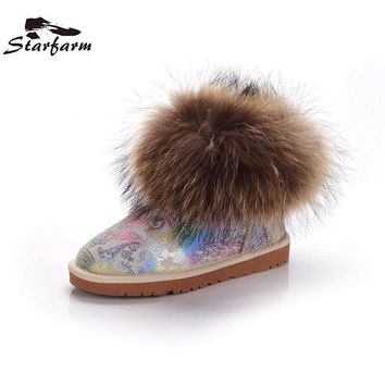 STARFARM Real Fox Fur Ankle Boots Genuine Leather Shoes Winter Snow Boots Warm Russian Boots Wool New Bootie  Women Shoes Woman