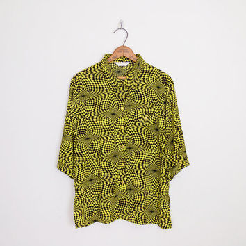 Yellow Optical Illusion Print Shirt Abstract Shirt Abstract Print Oversize Shirt Button Up Shirt 90s Grunge Shirt Club Kid Shirt S M L XL