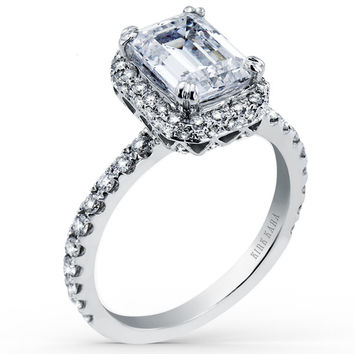 "Kirk Kara ""Carmella"" Emerald Cut Halo Diamond Engagement Ring"