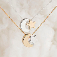 Crescent Moon Star Necklace, Silver / Gold, Whimisical Wedding Bridal Bridesmaid Gift, pj wj Lj gj