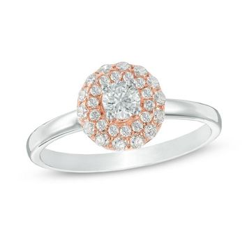 1/2 CT. T.W. DIAMOND DOUBLE FRAME ENGAGEMENT RING IN 10K TWO-TONE GOLD
