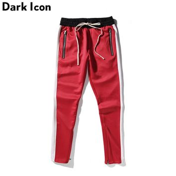 Side Patchwork Side Zipper Street wear Track Pants Men Spring Pants Men's Skinny Trousers Red Blue Black 5 Colors
