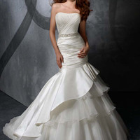 Sheath/Column Strapless Court Train Satin Wedding Dress with Beading at Msdressy