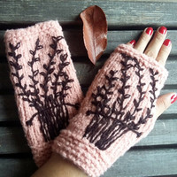Knitted Gloves, Gloves Crochet, Handmade,Sandy Brown,Fingerless Glove,The Tree of Life,Hand Warmer,Women Gloves,Arm Warmers, Christmas Gifts