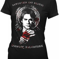 Vampire Diaries Damon Salvatore Sanguinis Juniors Black T-Shirt