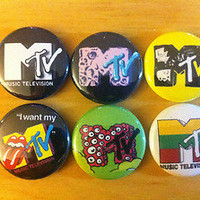 "MTV Buttons 1"" pins lot of 6 pinbacks vintage logo Beavis and butthead set #2"