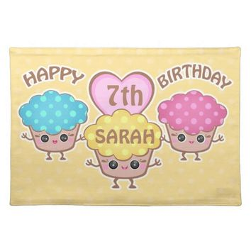 Custom Cute Birthday Kawaii Cupcakes Placemat