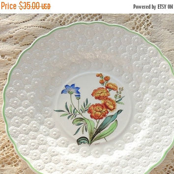 On Sale Vintage Spode Botanical  Plate, Flowers of the Month #7, Stock Collectible Plate, Signed Numbered 9366, Cabinet Plate Ca. 1932