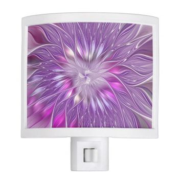 Pink Flower Passion Abstract Fractal Art Night Light