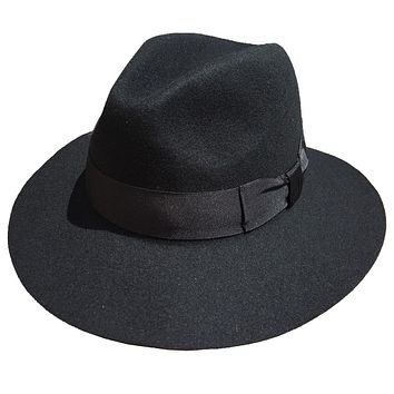 Black Wool Felt Wide Brim Fedora Hat For Men
