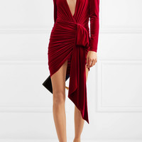 Alexandre Vauthier - Draped stretch-velvet mini dress