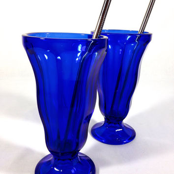 Cobalt Blue Anchor Hocking Parfait Glasses Milkshake Malt Fountainware Retro Blue Glassware Tall Ice Cream Sundae Cups Desert For Two