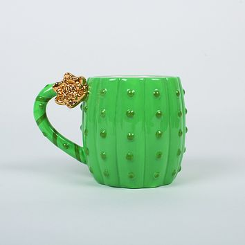 8 OAK LANE COFFEE MUG GREEN CACTUS