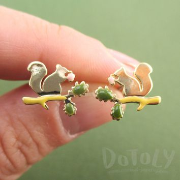 Squirrel Chipmunk on a Branch Silhouette Shaped Stud Earrings in Gold