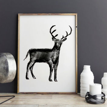 Deer art print - Dorm decor, deer antler, wall art prints, printable art, Home decor
