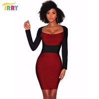 JRRY Sexy Square Collar Print Bodycon Pencil Dresses Long Sleeve Autumn Club Dress Vestidos