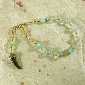 Heimdall Prayer Bead Bracelet in Rainbow Fluorite: Norse God, Guardian of Bifrost the Rainbow Bridge