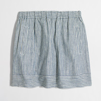 Factory striped cotton-linen skirt